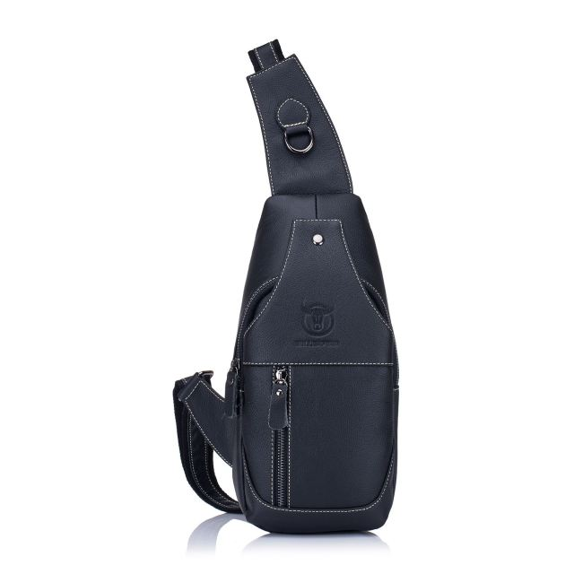 8d71e40a47 Men s Sling Bag Genuine Leather Chest Shoulder Backpack Cross Body Purse  Water Resistant Anti Theft For Travel School
