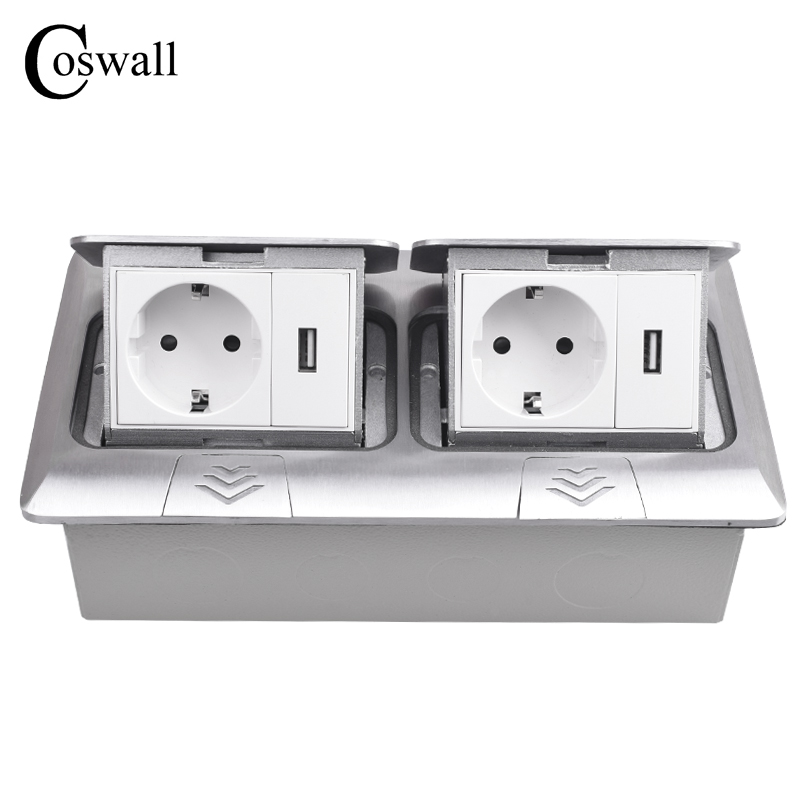 COSWALL All Aluminum Panel Pop Up Floor Socket 16A Russia Spain EU Standard Power Double Outlet With 2 USB Charging PortCOSWALL All Aluminum Panel Pop Up Floor Socket 16A Russia Spain EU Standard Power Double Outlet With 2 USB Charging Port