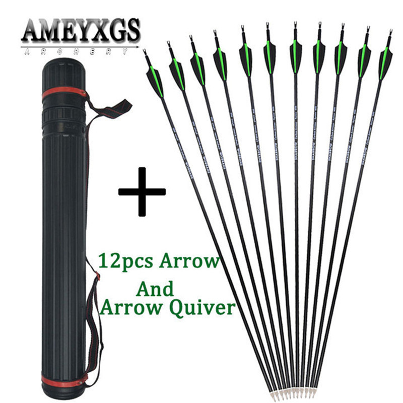 12pcs 30inch Spine 500 Carbon Arrow And Portable Adjustable Arrow Quiver For Outdoor Sports Hunting Shooting Archery Accessories