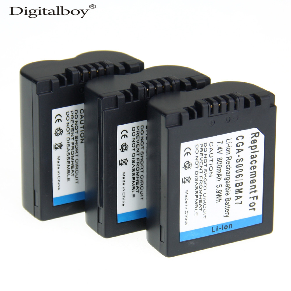 3PCS CGA-S006E CGRS006A CGR-S006E CGR-S006A/1B BP-DC5U Camera Battery For PANASONIC Lumix DMC FZ30-K FZ8EF-S FZ30-S