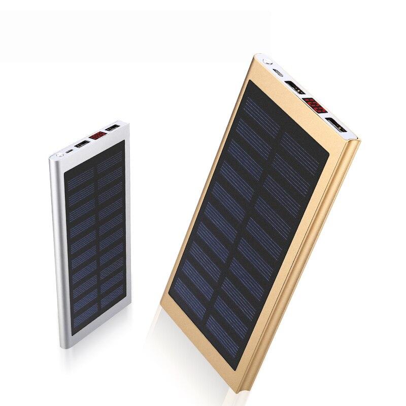 imágenes para Moda 10000 mAh Banco de la Energía Solar con LCD Ultra Thin Externa Powerbank Panel Solar para Todo el Teléfono Móvil Al Aire Libre/Xiaomi