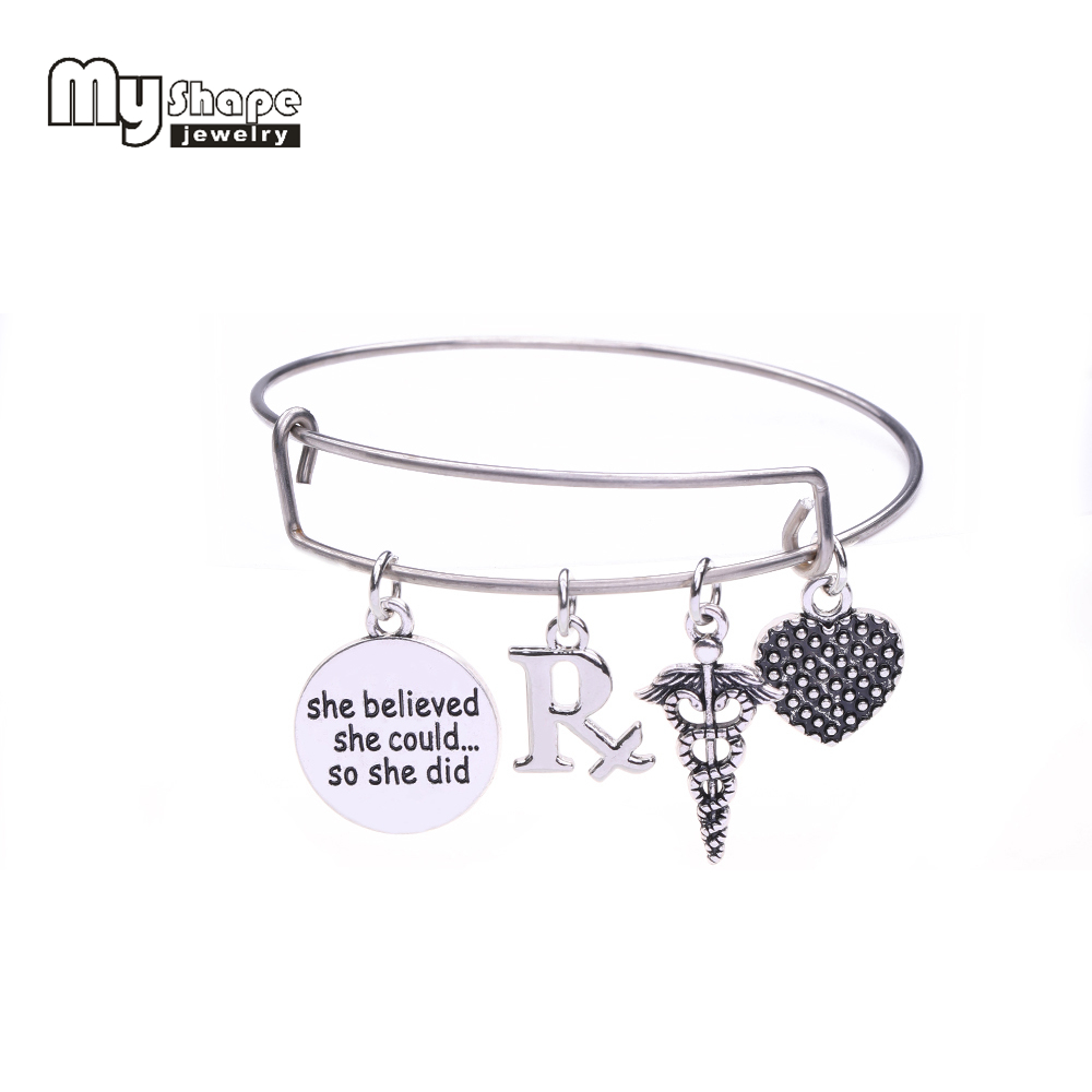 my shape Pharmacy Symbol RX & She believed she could...so she did Word Charm Stainless Steel Expandable Wire Bangle DIY Medical