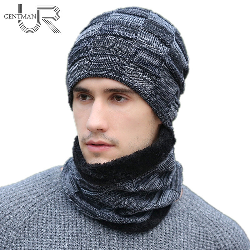 Newest Men Warm Beanies Hat Casual Knitted Hat Fashion Neck Warmer Winter Hats For Men Outdoor Skullies Beanies Warm Fleece Hat