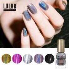 LULAA зеркальный эффект лак для ногтей металлик Блестящий зеркальный блеск лак для ногтей Великолепная серия Блестящий Голографический лазерный набор для дизайна ногтей
