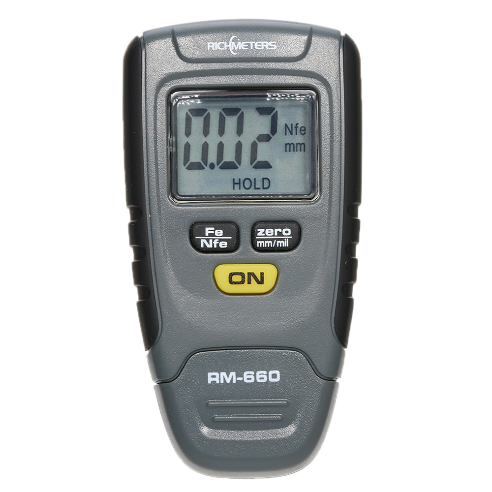 RICHMETERS RM660 Digital auto Paint Coating Thickness Gauge Tester Fe/NFe 0-1.25mm for Car Instrument Iron Aluminum Base Metal benetech digital film coating thickness gauge 0 1800um 0 01mm resolutiongm210 digital paint film iron base thickness gauge meter
