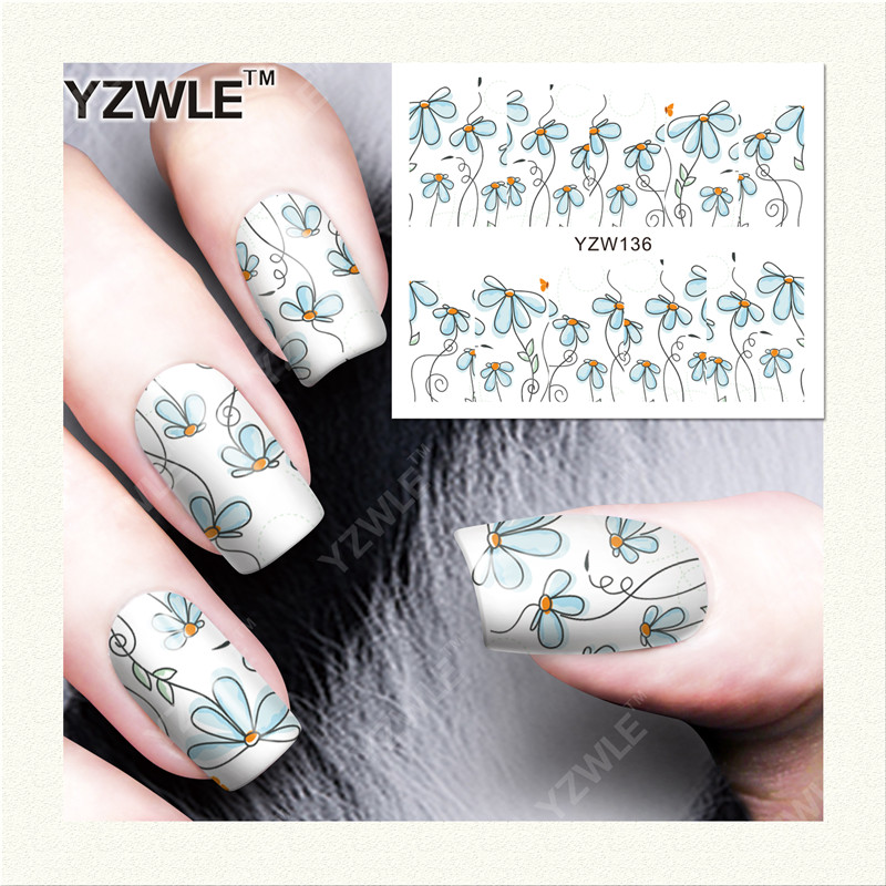 YZWLE  1 Sheet DIY Designer Water Transfer Nails Art Sticker / Nail Water Decals / Nail Stickers Accessories (YZW-136) 13 4 peruvian virgin hair lace frontal closure with bundles peruvian straight hair with closure cheap frontal with 3 bundles