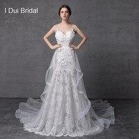 Shinny Sparkle Wedding Dress With Detachable Train Illusion Fashion 2018 New Style Delicate Handmade Flower
