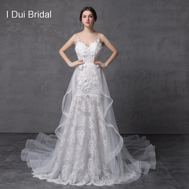 Shinny Sparkle Wedding Dress with Detachable Train Illusion Fashion New Style Delicate Handmade Flower