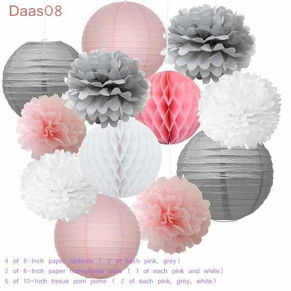 12pçs pompoms de papel decorativo rosa, branco, flor, pendurado, lanterna, favo de mel, bolas de mel, aniversário, casamento, decoração de chuveiro