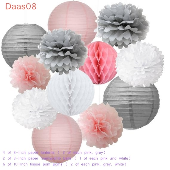 12pcs Mixed Pink Gray White Decorative Paper Pompoms Flower Hanging Paper Lantern Honeycomb Balls Wedding Birthday Shower Decora