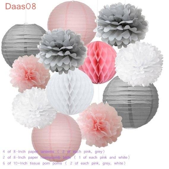 12pcs Mixed Pink Gray White Decorative Paper Pompoms Flower Hanging Paper Lantern Honeycomb Balls Wedding Birthday Shower Decora