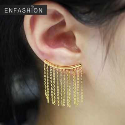 Punk Chain Tels Earing Cuff 18k Rose Gold Earrings Clips