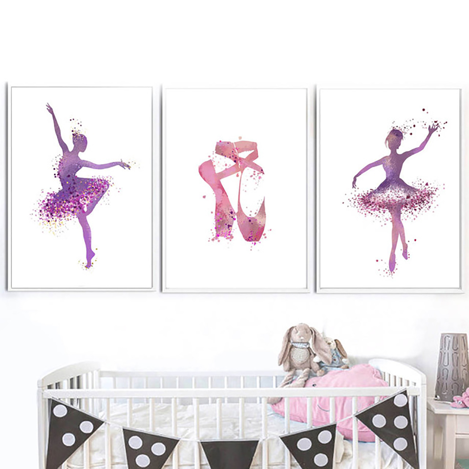 Modular Poster Pictures Canvas Painting Ballet Nordic-Style Home-Decor Watercolor Wall-Art