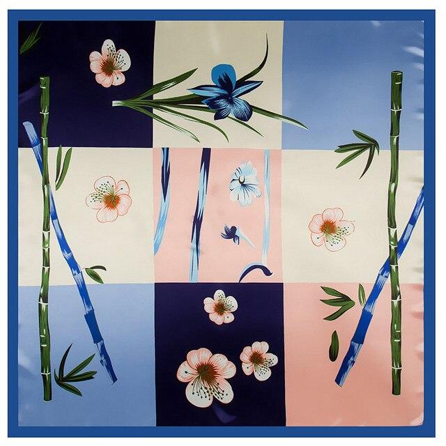 08e5fff68cef Mode Carré Écharpe 2018 Nouveau Bambou Orchidée Soie Écharpe Pour Les Femmes  Hijab Châle De Luxe Marque Foulard À Carreaux Echarpes Wraps Pour dames