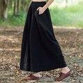 Traje popular Plus Size Mulheres Do Vintage Calças de Algodão Preto Sólido Mulheres Calças de linho Outono Casual Solto Quente Das Mulheres Perna Larga calças
