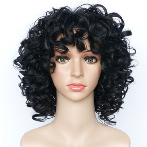 Image 1 - Gres Bouncy Curly Black Synthetic Hairpieces Puffy 14inch Medium Length Afro Wigs for the African High Temperature Fiber