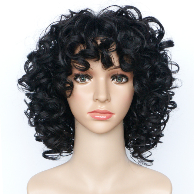 Gres Bouncy Curly Black Synthetic Hairpieces Puffy 14inch Medium Length Afro Wigs for the African High Temperature Fiber