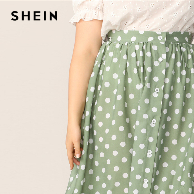 SHEIN Plus Size Green Polka Dot Button Up A Line Skirt 2019 Women Spring Summer Casual Elegant Long Loose Officewear Skirts 4
