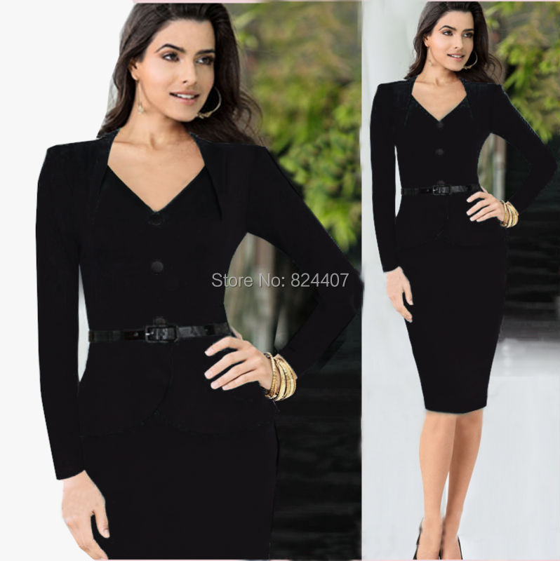 Womens V Neck Office Dress Work Wear For Business Ladies Formal