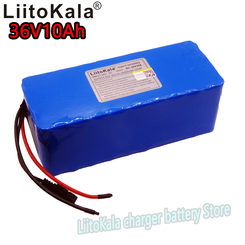 LiitoKala 36v10Ah 18650 lithium battery pack 8000 mAh 10S4P electric bicycle lithium ion battery large capacity bms 500W electric bike battery 36v10ah with customized dimension