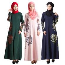 New Malaysia Muslim Dress turkey Islamic Women Sun print Abaya dresses pictures jilbab clothes burka Lady turkish women clothing