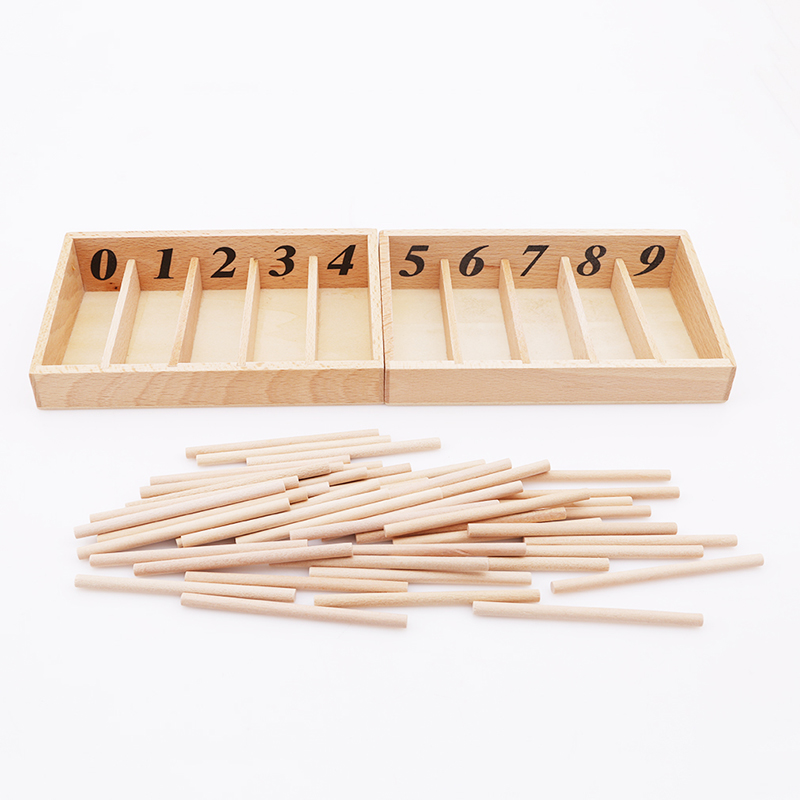 Montessori Educational Wooden Toys For Children Spindle Box With 45 Spindles Mathematics Learning and Spindle Rod Family Version(China)