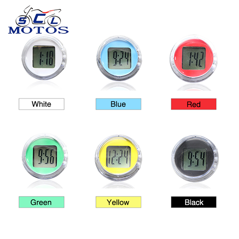 Sclmotos- Universal Motorcycle Clocks Watch Waterproof Stick-On Motorbike Mount Watch Moto Digital Clock Moto Clock ATV Racing