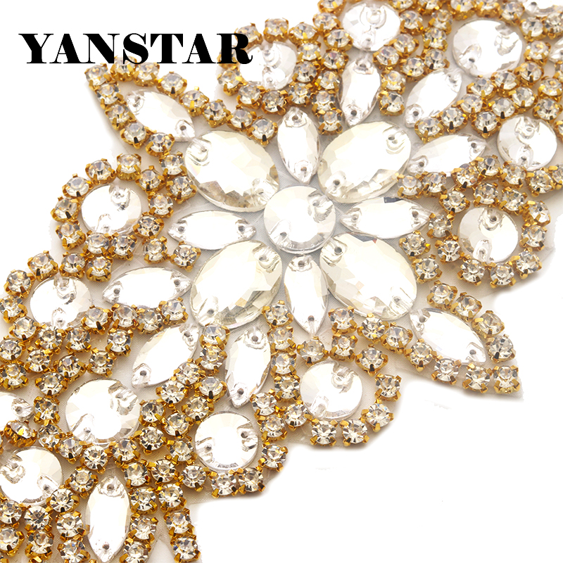 YANSTAR 1PCS Handmade Rhinestones Appliques Wedding Dresses Belt Accessory  For Bridal Sashes Sewing On Dress Belt YS855-in Rhinestones from Home   Garden  on ... a7925d8095de
