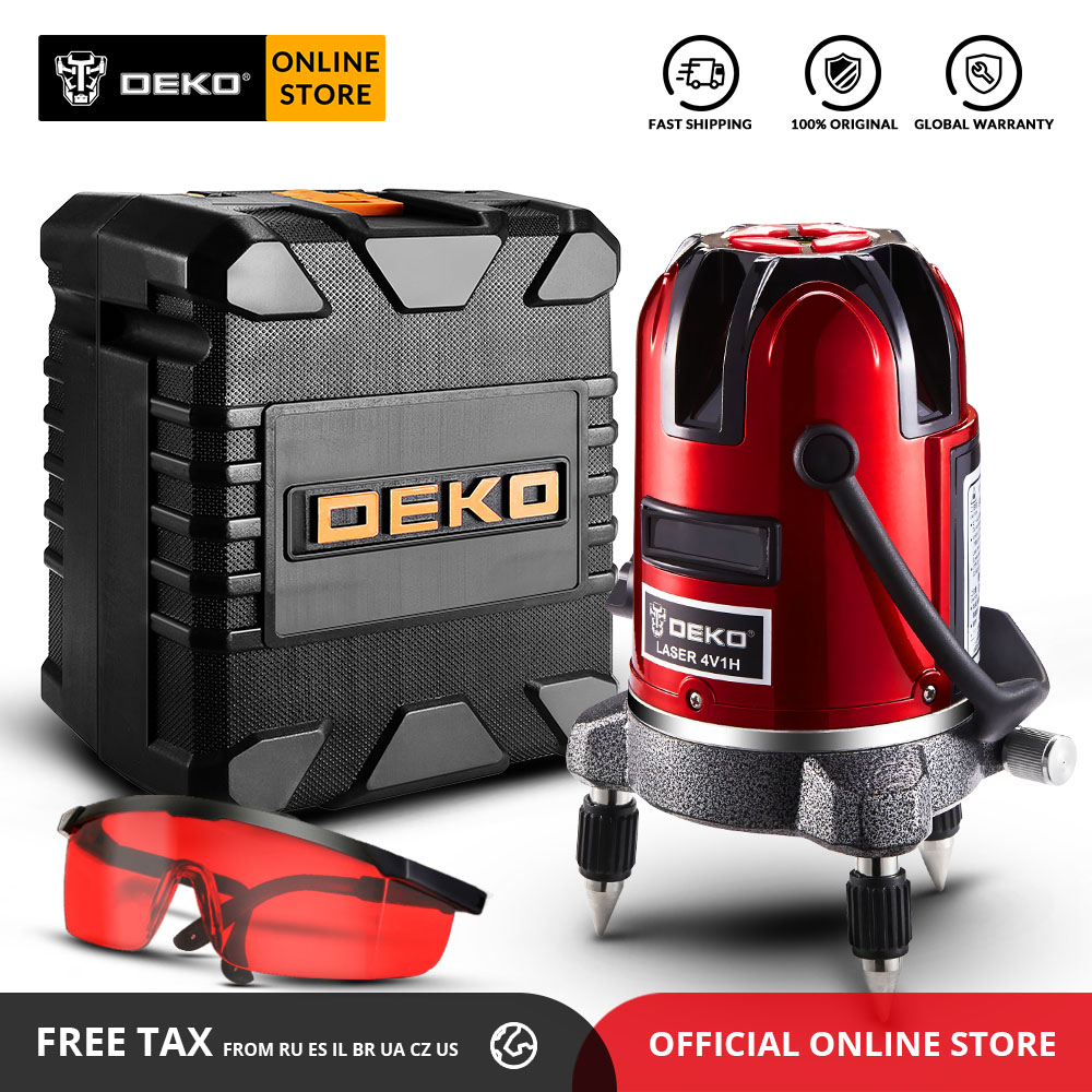 DEKO LL57/58 RED Series Self-leveling 5 Line 6 Points Horizontal&Vertical Laser Level 360 Degree Adjustment Higher Visibility