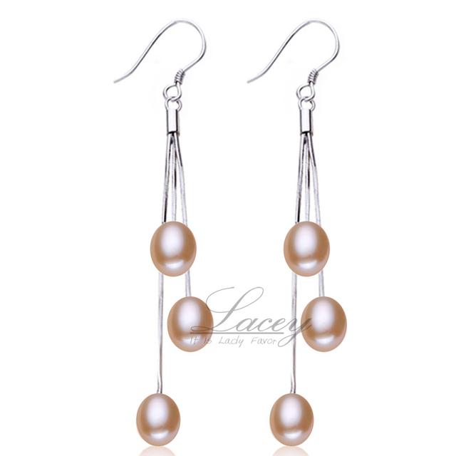 Real Freshwater pearl earrings for women,natural long pearl earrings jewelry 925 sterling silver tassel earrings