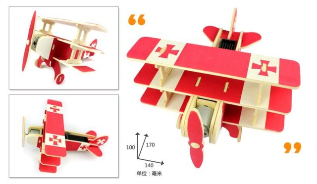 Creative hot educational toys DIY assembling solar green energy plane model puzzle gift