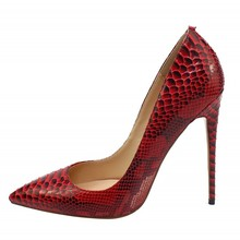 New Fashion Woman Snakeskin Leather Pumps Big Size 34-46 Thin High Heels Red Sliver Pointed Toe Sexy Wedding Shoes C039A cocoafoal woman green high heels shoes plus size 33 43 sexy stiletto red wedding shoes genuine leather pointed toe pumps 2018