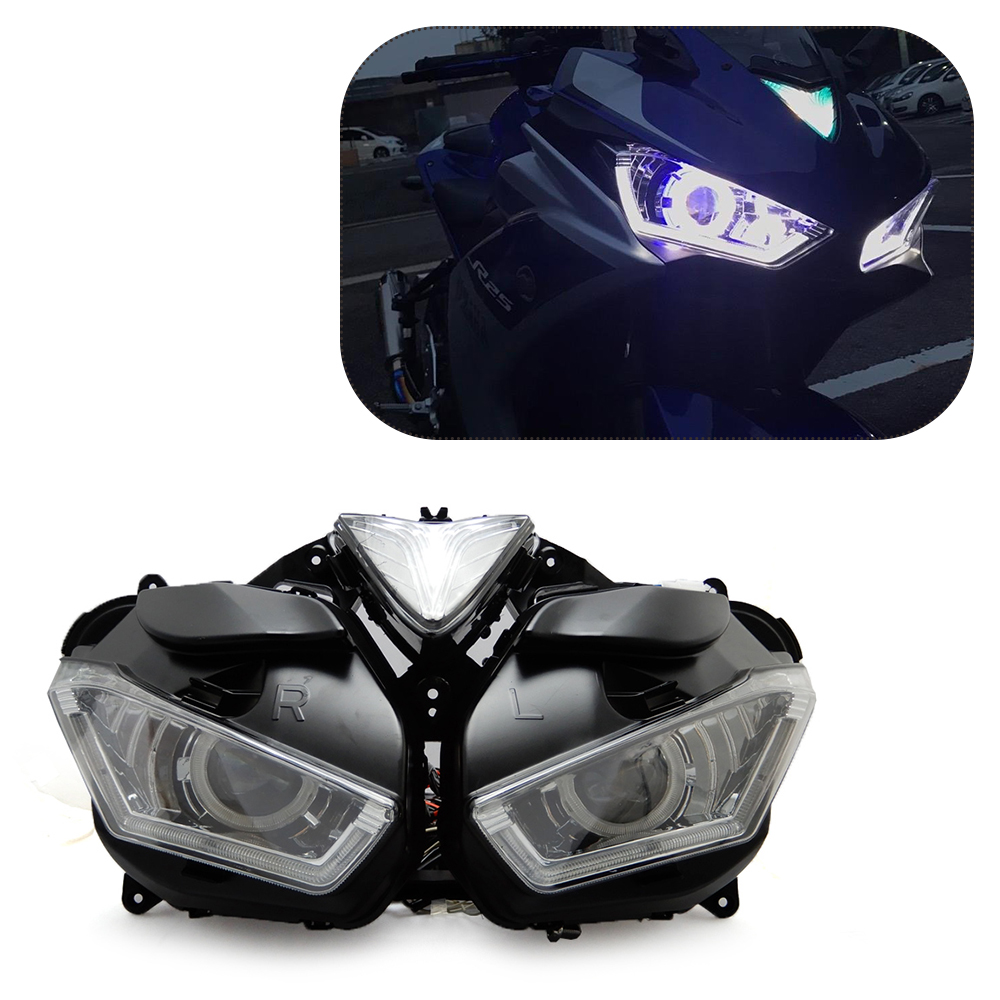 KEMiMOTO For YAMAHA YZF R25 R3 2013-2017 Motorcycle Headlight Angel Demon Eye HID Projector Headlight R25 R3 HID Angel Eye