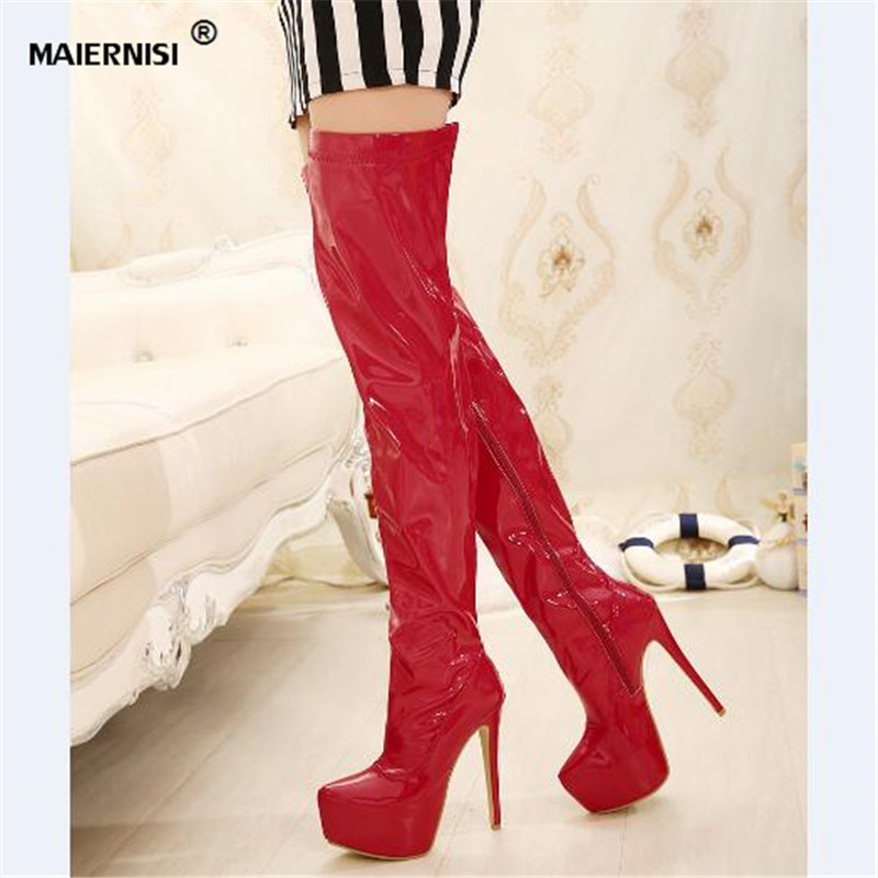 ФОТО CDTS Plus:35-44 Autumn 15cm thin heels martin Over-The-Knee-high boots platform women shoes Crossdresser Patent Leather SM pumps
