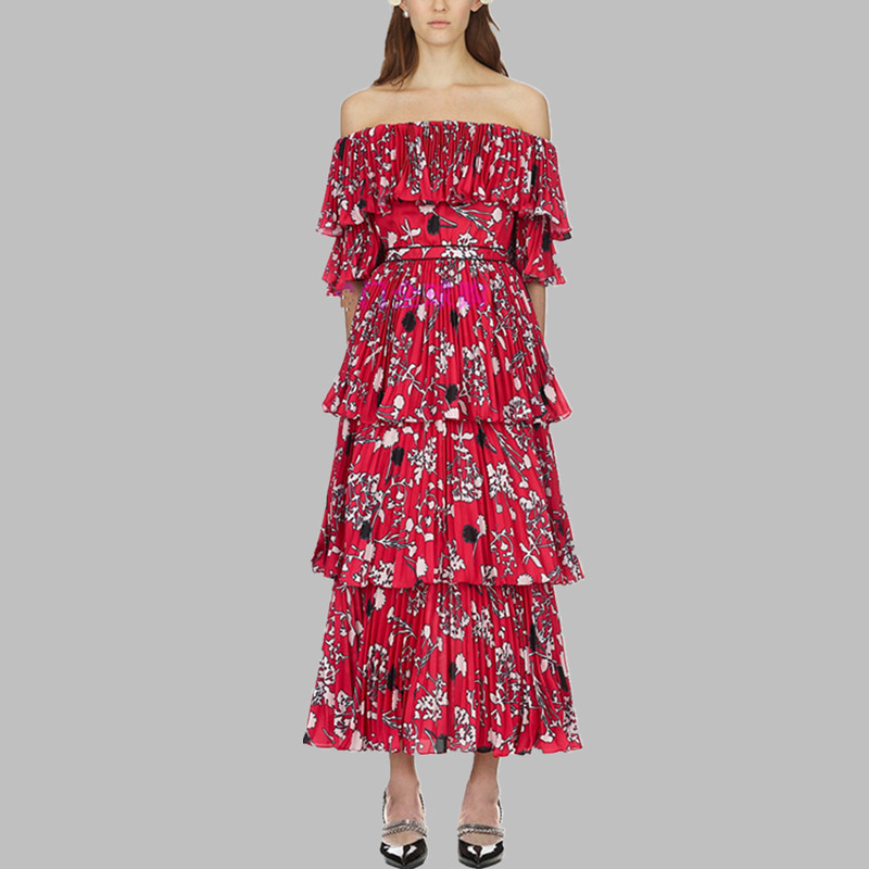 aca26b247ddab4 2019 New arrival self portrait Runway Red yellow printing Long Dress women  Sexy Off Shoulder Dress