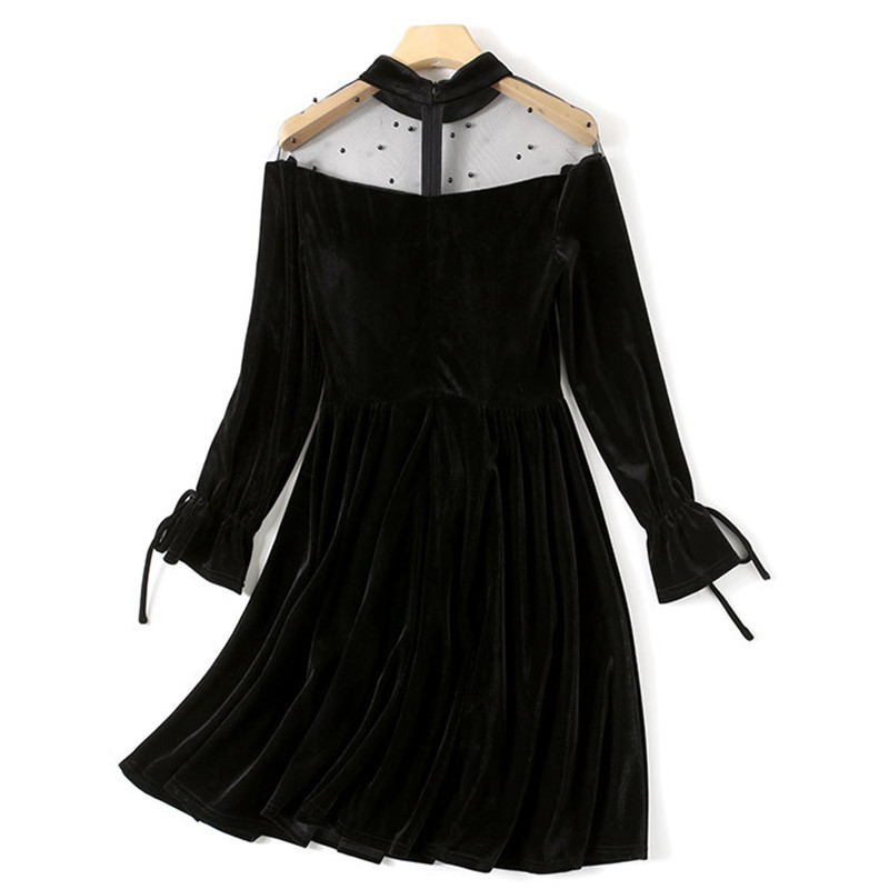 SALE - Black Lace O-Neck A Line Dress 1