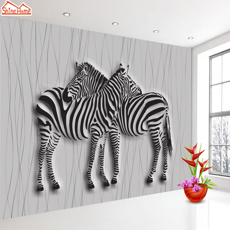 ShineHome-Black and White Zebra Strips Animal Wallpaper 3d Stereoscopic Decorative Wall Paper Murals Boys Kids Children Room