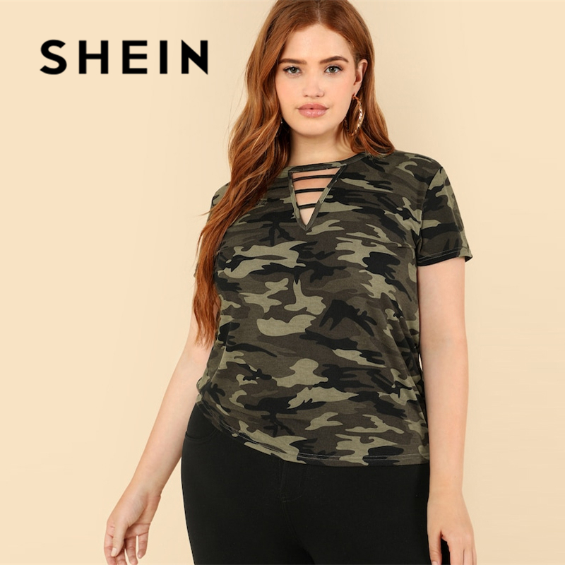SHEIN Casual Plus Strappy Neck Camo V neck Short Sleeve T-shirt 2018 Mock Neck Stretchy Autumn T-shirt 1