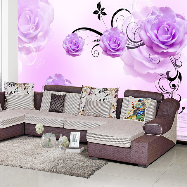 Custom muurschildering 3D TV sofa slaapkamer woonkamer paars bloemen ...