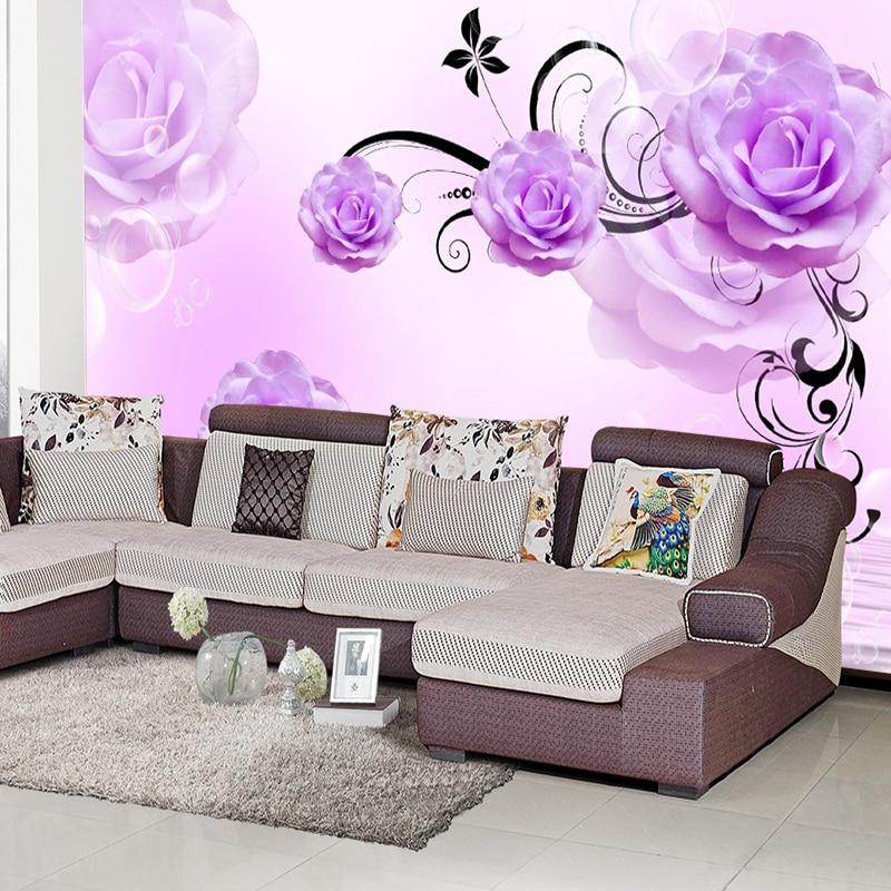 Online get cheap purple flowers wallpaper for Cheap purple sofa