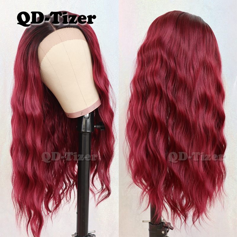 QD-Tizer Ombre Color Loose Wave Hair Lace Wigs Middle Part Glueless Heat Resistant Synthetic Lace Front Wigs for Black Women