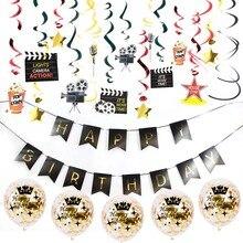 הוליווד מסיבת יום הולדת קישוט סט סרט לילה תליית מערבולות שמח יום הולדת קונפטי לטקס בלוני בכורה לילה פרסים