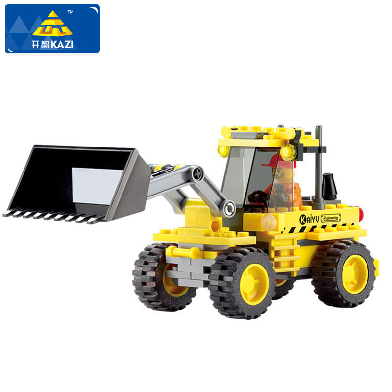 KAZI City Building Blocks Construction Bulldozer Building Block 117pcs Playmobil Enlighten Educational Toys For Children