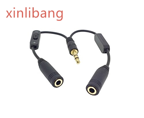 Black 3 5mm Stereo Male to Double 3 5mm Female Audio Headphone Y Splitter Cable with Volume Switch in Computer Cables Connectors from Computer Office