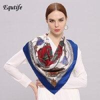 90*90cm Women Square Print Silk Scarf High Quality Elegant Neckerchief Decorative Scarves Fashion Pattern Pashmina Cape HA829