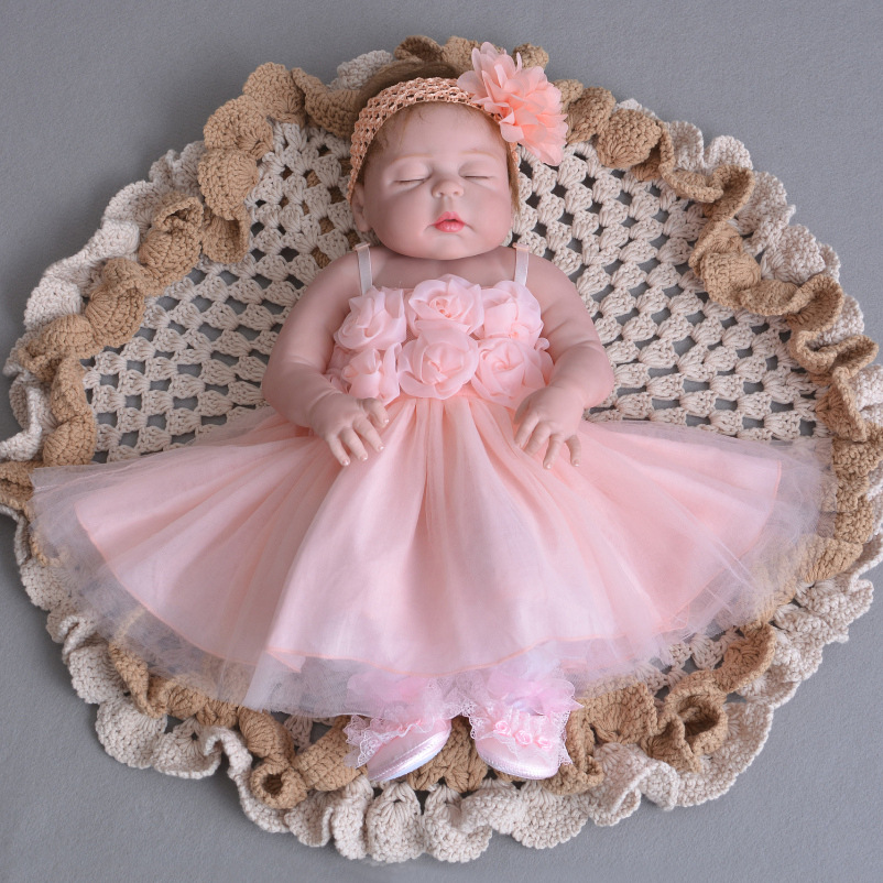 55cm Full Silicone Reborn vinyl Realistic 23inch new design wedding baby bebe alive Lovely Birthday Gift