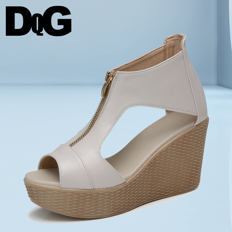 DQG 2018 Summer Women Shoes Sandals Fisherman Casual Solid Zip Cover Heel Sandalias Mujer High Heels Wedges Platform Zapatos summer shoes woman platform sandals women soft leather casual peep toe gladiator wedges women 7cm high heel shoes zapatos mujer