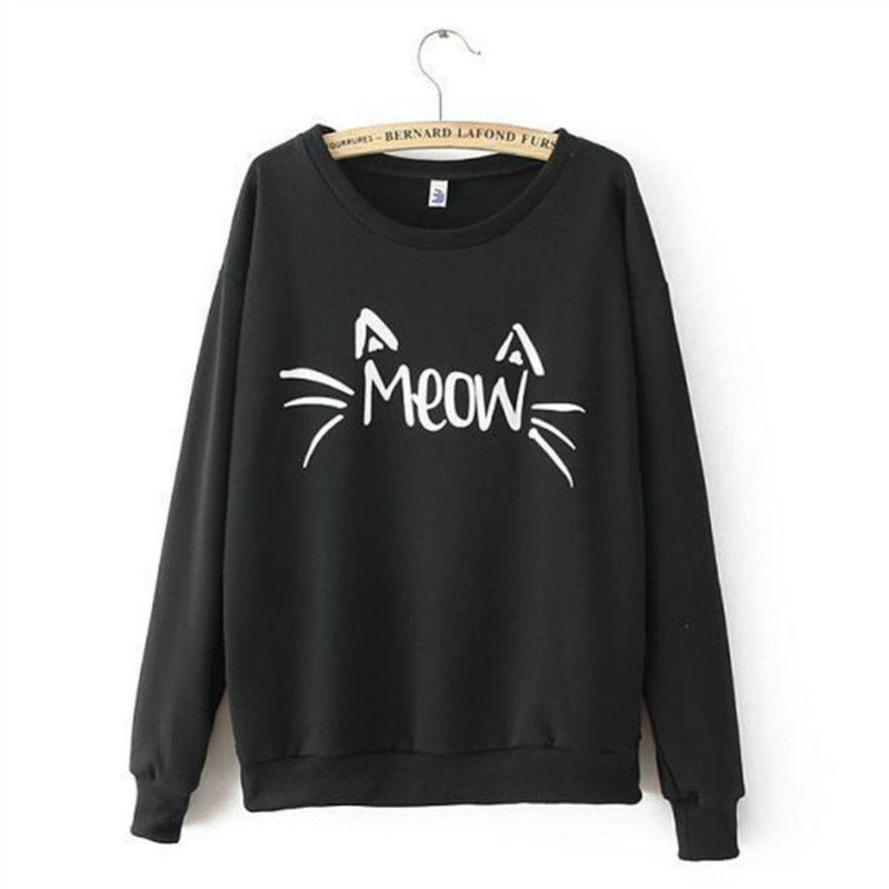 Hoodies Women Kawaii Sweatshirt Pullover MEOW Print Harajuku Tracksuits Female Sudaderas Mujer 2016 Fashion Tops New Arriving