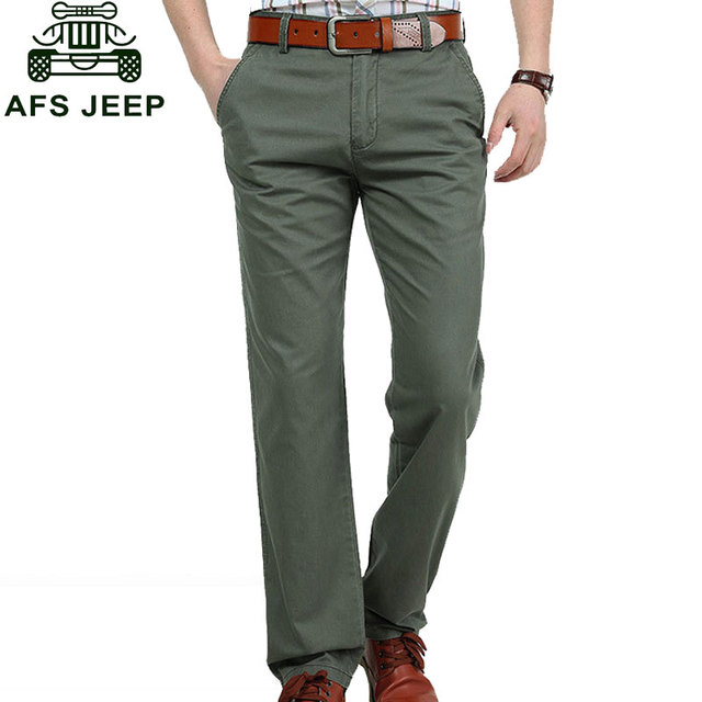 2017 Casual Man Pants Plus Size Pants Army Green Men's Cargo Loose 100% Cotton Straight Long Pants Trousers Brand CLOTHES 38 42