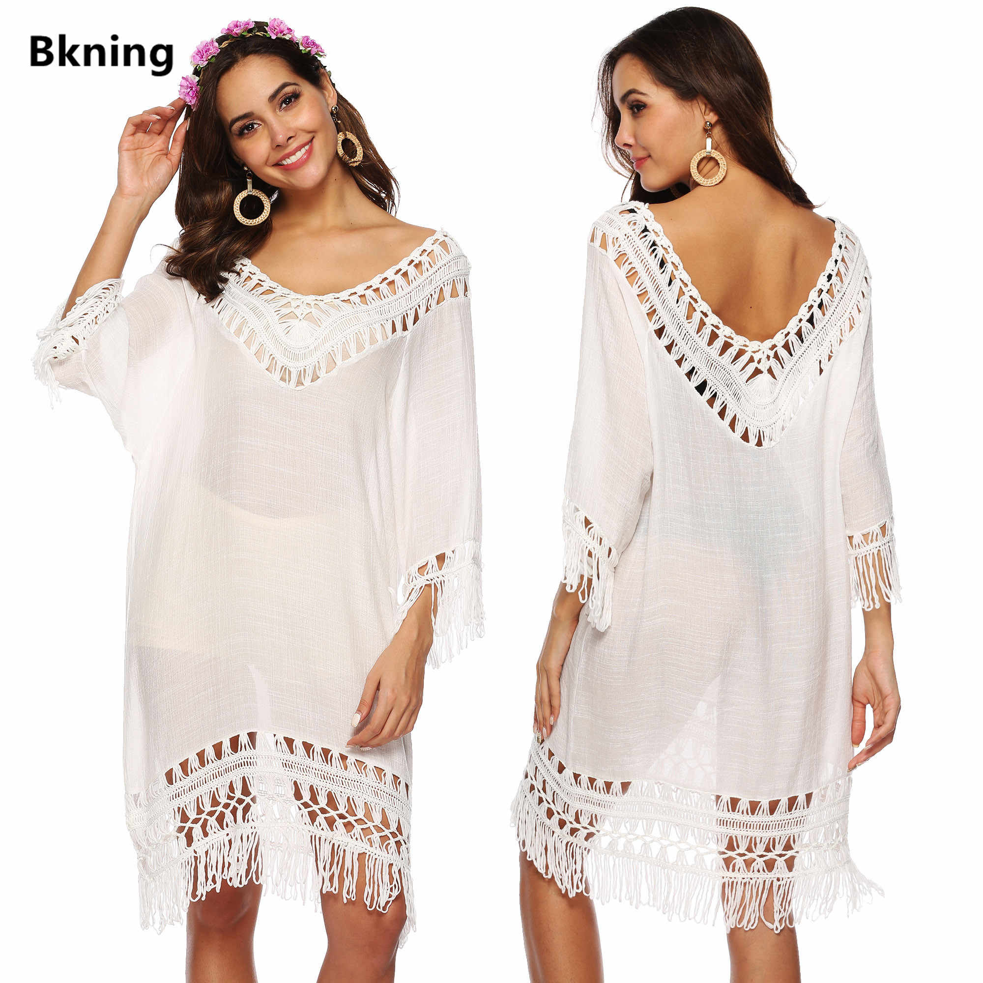 71e62610e0b0 Tassel Beach Dress V Neck White Cover Up Swimsuit Bikini Tunic Ups Women  Dresses Bathing Suit